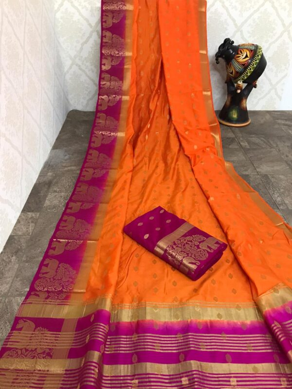 Devastating Orange Color All Over Zari Weaving Butta Border Soft Row Silk Saree Blouse