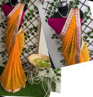 Amazeballs Mustard Color Designer Leheriya Nazmin Gotta Patti Work Saree Blouse
