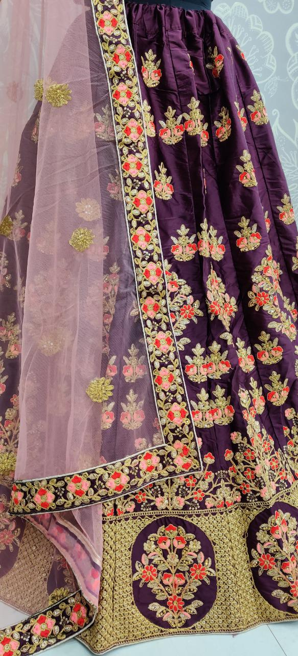 Comely Wine Color Wear Designer Satin Silk Thread Embroidered Sequence Work Lehenga Choli