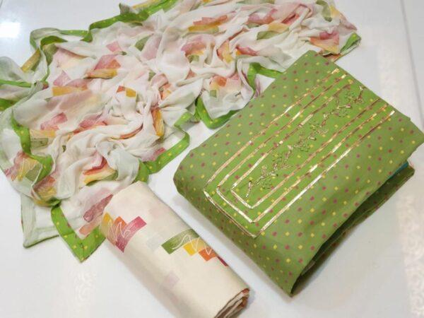 Good-Looking Light Green Color Wear Cotton Printed Designer Salwar Kameez