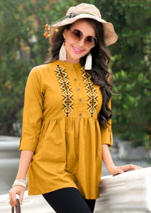 Beautiful Mustard Color Full Stitched Party Wear Cotton Fancy Embroidered Top