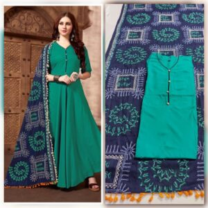 Astonishing Rama Color Full Stitched Rayon Kurti With Designer All Over Embroidered Dupatta