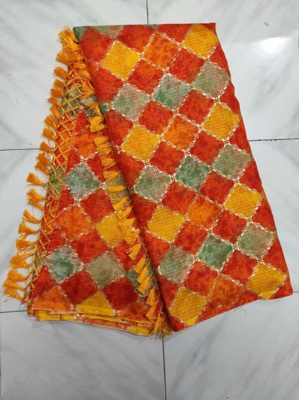 Ravishing Multi Color Designer Soft Cotton Leheriya Printed Saree Blouse