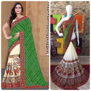 Comely Green Color Designer Bandhej Georgette Half Gamthi Work Saree Blouse