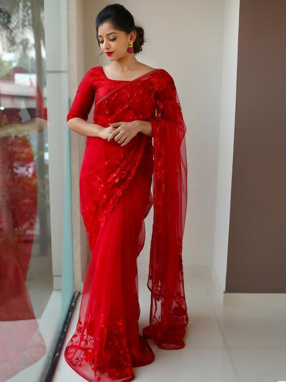 Good-Looking Read Color Designer Soft Net Chain Stitch Lace Work Saree Blouse