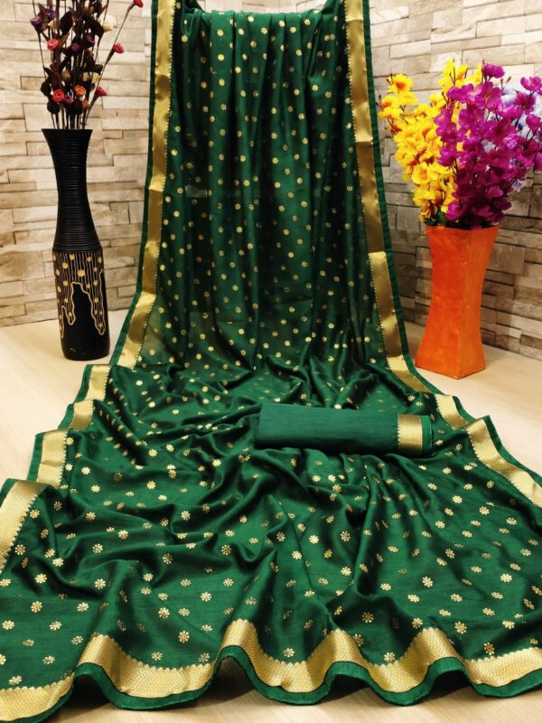 Phenomenal Dark Green Color Function Wear Vichitra Silk Ton To Ton Jacquard Piping Banglori Lace Foil Work Saree Blouse
