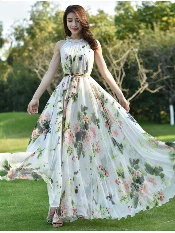 Bewitching Multi Color Full Stitched Faux Georgette Flower Printed Gown