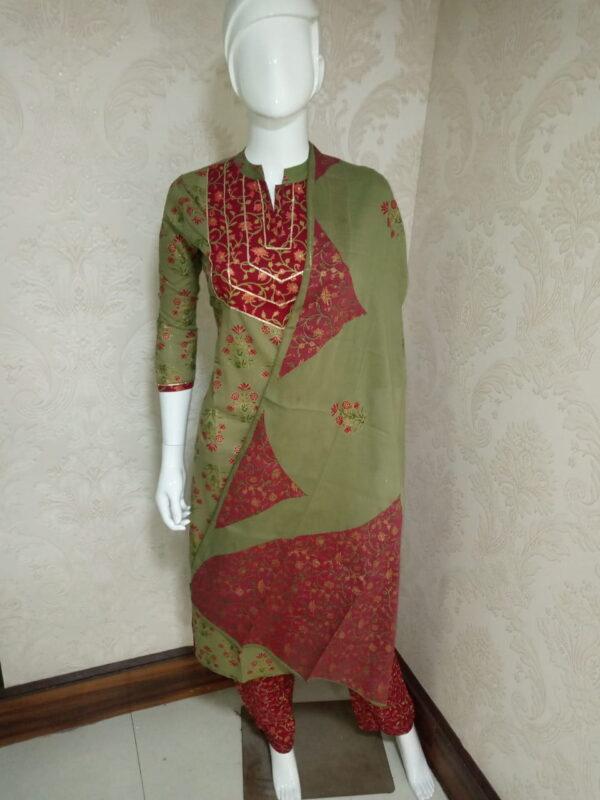 Striking Mehendi Green Color Wear Designer Ready Made Cotton Printed With Lace Pent Top Salwar Kameez