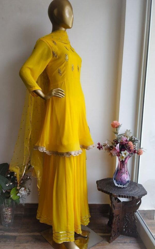 Pretty Yellow Color Georgette Embroidered Designer Top With Stitched Plazo Salwar Kameez