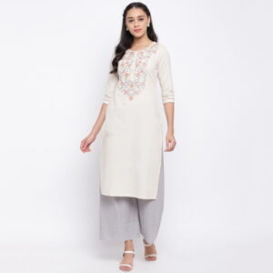 Gorgeous Off White Color Ready Made Cotton Embroidered Kurti