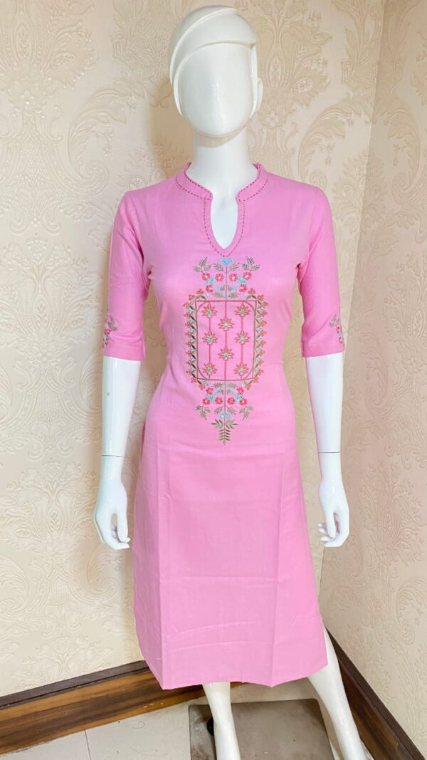 Radiant Light Pink Color Ready Made Party Wear Cotton Embroidered Kurti