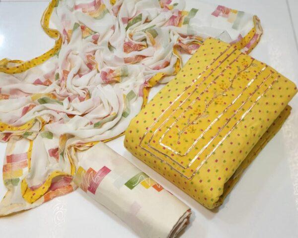 Lovely Yellow Color Party Wear Cotton Designer Printed Salwar Kameez