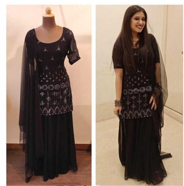 Captivating Party Wear Black Color Georgette Embroidered Mirror Work Full Stitched Top Plazo Salwar Kameez