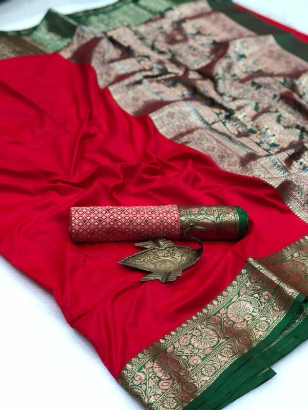 Pretty Party Wear Red Color Soft Silk Fancy Weaving Two Tone Saree Blouse