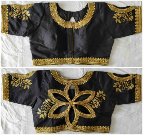 Staggering Black Color Designer Zari Thread Embroidered Stone Cut Work Fantom Silk Wedding Wear Ready Made Blouse