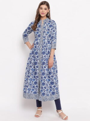 Wonderful Blue Color Ready Made Cotton Fancy Printed Kurti