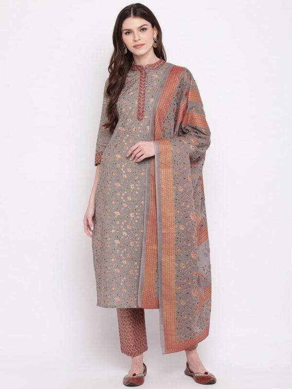 Dazzling Grey Color Full Stitched Designer Cotton Printed Handwork Top Pent Salwar Kameez
