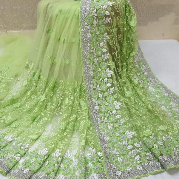 Dazzling Light Green Color Designer Motti Ceramic Jarkhand Embroidered Saree Blouse