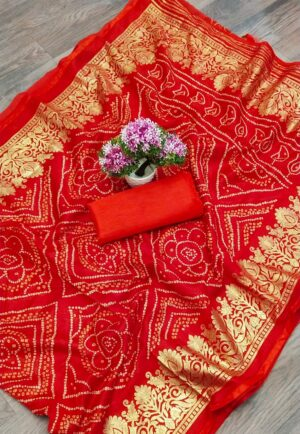 Alluring Party Wear Red Color Designer Foil Printed Cotton Bandhani Saree Blouse