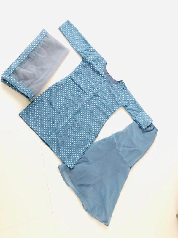 Knockout Light Blue Color Wear Full Stitched Designer Georgette Sequence Embroidered Plazo Salwar Kameez
