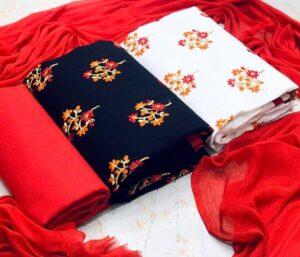 Attractive Multi Color Designer 2 Top Chanderi Printed Salwar Kameez Set