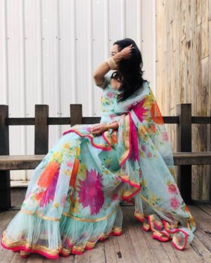 Alluring Sky Blue Color Wedding Wear Georgette Ruffle Net Designer Digital Printed Saree Blouse for women