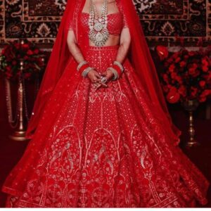 Phenomenal Red Color Designer Georgette Chine Stitch Work Lehenga Choli