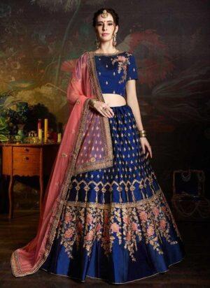 Alluring Royal Blue Color Coding Embroidered Satin Golden Zari Work Designer Tapeta Silk Function Wear Lehenga Choli