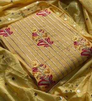 Alluring Golden Color Function Wear Glaze Cotton Designer Embroidered Work Salwar Kameez