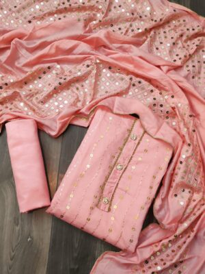 Amazeballs Pink Color Fancy Full Sequence Work Chanderi Soft Semi Modar Salwar Suit