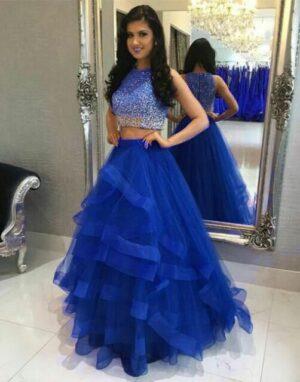 Amazeballs Royal Blue Color Function Wear Net Ruffle Kali Flair Designer Sequence Work Lehenga Choli