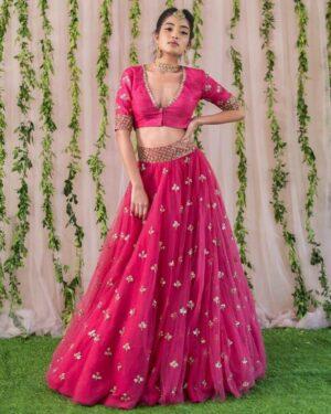 Attractive Rani Pink Color Wedding Wear Soft Net Designer Embroidered Work Butti Lehenga Choli