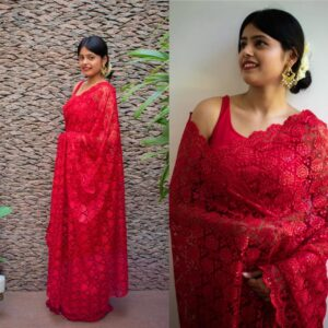 Alluring Red Color Festive Wear Soft Net Designer Thread Sequence Fancy Work Saree Blouse