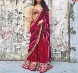 Attractive Red Color Semi Stitched Soft Tapetta Silk Designer Thread Zari Paper Mirror Work Sharara Salwar Suit