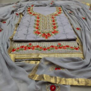 Alluring Grey Color Designer Cotton Zaam Neck Diamond Daman Lace Stone Sequence Embroidered Work Fancy Work Dress Material