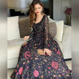 Exquisite Black Color Full Stitched Soft Georgette Heavy Digital Floral Printed Work Lehenga Choli