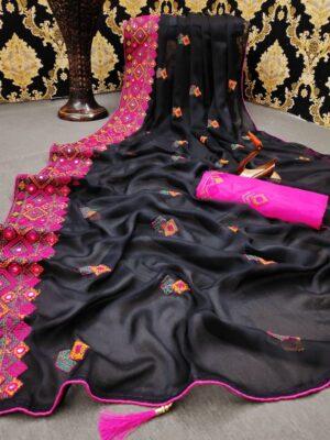 Amazeballs Black Color Chiffon Moss Embroidered Thread Mirror Foil Work Border Saree Blouse