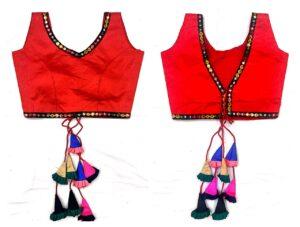 Amazeballs Red Color Festive Wear Phantom Silk Jhumkha Design Latkan Multi Color Kashmiri Work Ready Made Blouse