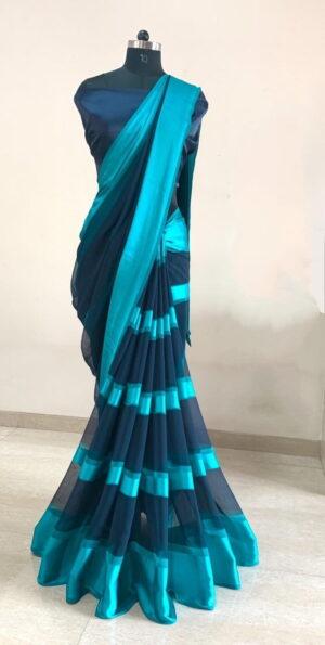 Alluring Navy Blue Color Fancy Digital Printed Soft Satin Patta All Over Saree Designer Blouse