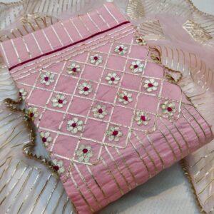 Alluring Pink Color Chanderi Gotta Patti Designer Work Semi Modal Dress Material
