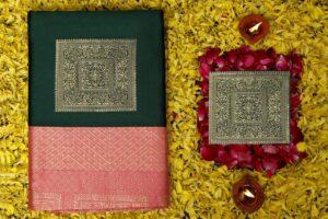 Alluring Dark Green Color Function Wear Silk Lichi All Over Jacquard Work Saree Blouse