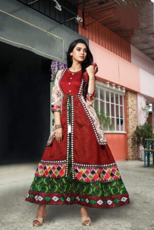 Alluring Green Color Function Wear Cotton Digital Printed Chanderi Ready Made Long Kurti