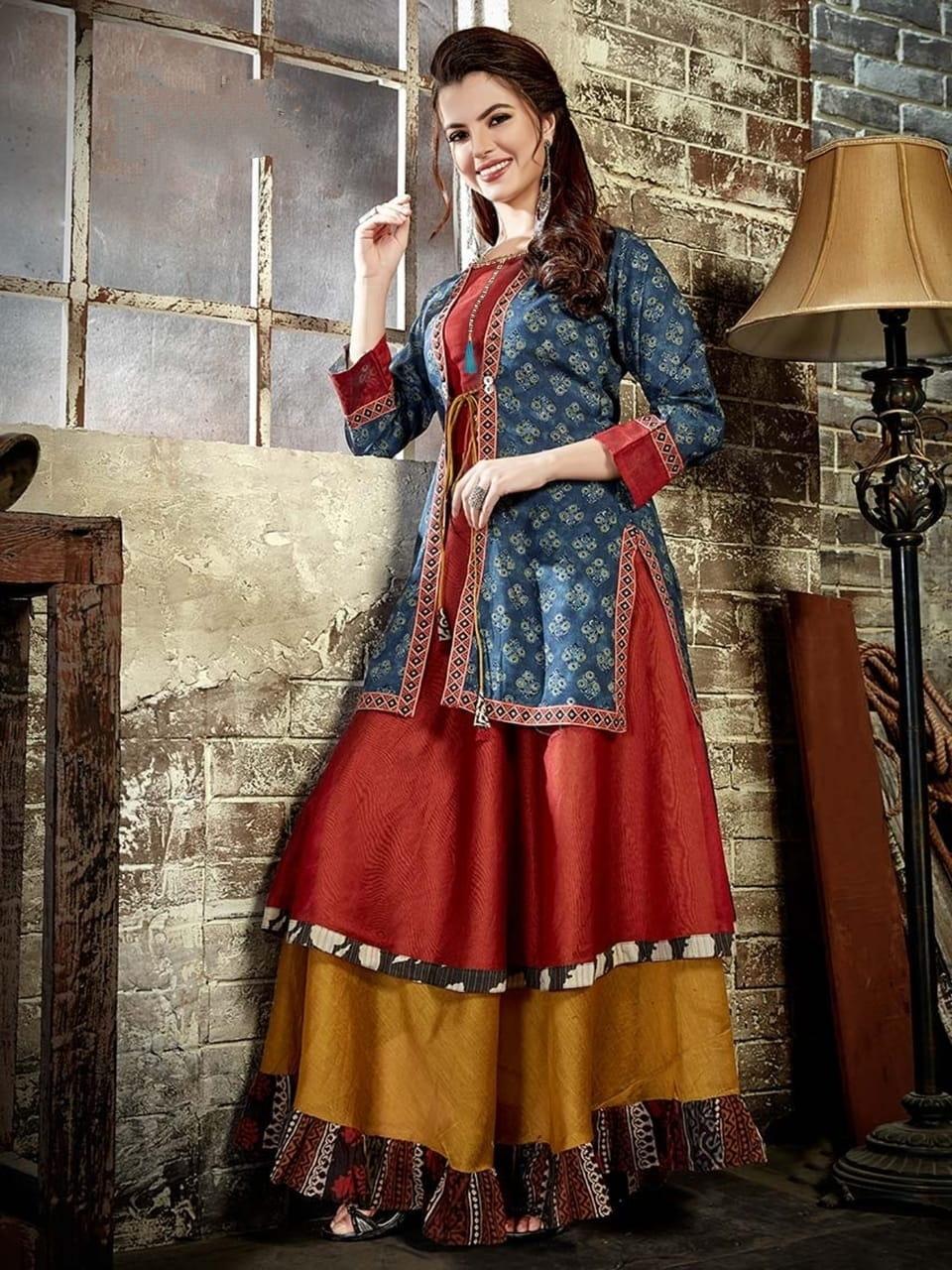 Beauteous Multi Color Designer Digital Printed Cotton Chanderi Full Stitched Long Kurti