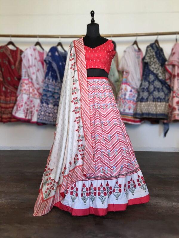 Festive Wear Red Color Dashing Art Silk Fancy Printed Lehenga