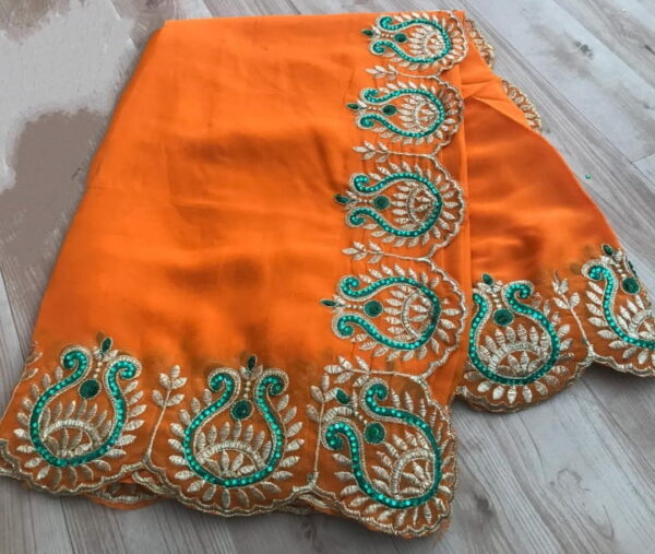 Glamorous Orange Color Fancy Georgette Wedding Wear Embroidered Work Saree Blouse