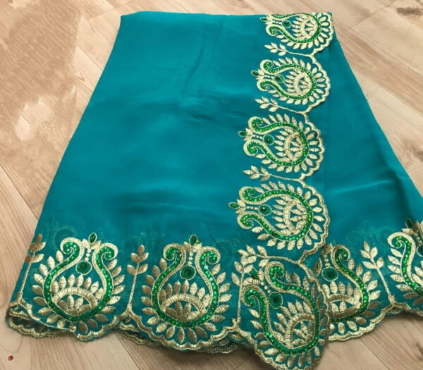 Pretty Firozi Color Function Wear Georgette Embroidered Work Indian Wear Saree Blouse