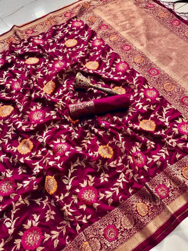 Good-looking Color Dazzling Art Silk Flower Zari Weaving Design Wedding Wear Saree Blouse