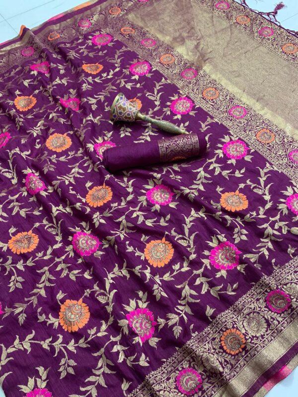 Mind-blowing Violet Color Radiant Flower Weaving Zari Work Rich Pallu Art Silk Saree Blouse
